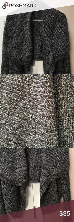 Silver gray cascade cardigan EUC very pretty dark gray/black with sparkle throughout. Perfect for the holiday! Sweaters Cardigans