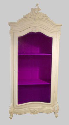 what a pop of color-white credenza, cupboard, magenta purple interior