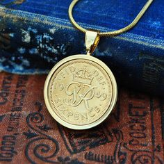 Birthday Necklace, Coin Necklace, Sixpence in Gold, 1949 Birthday Mum Sixpence English Coin Necklace Holly Willoughby Copper Anniversary Gifts, Anniversary Present, Coin Necklace, Pendant Necklace, English Coins, Holly Willoughby, Gold Plated Necklace, 70th Birthday, Marriage