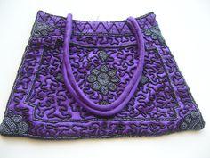 Antique bag beaded/vintage bag purple by woolwarm on Etsy