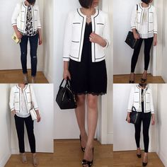 @anntaylorstyle Collarless Tipped Jacket Styled 5 Ways #instaAnn