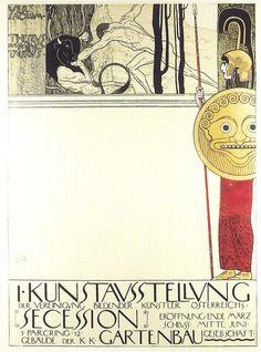 Gustav Klimt, Manifesto per la prima mostra della Secessione Viennese (26.03.1898-‐20.06.1898), 1898, litografia a colori su carta © Klimt Foundation, Wien