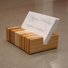 Wooden Business Card Holder for shiho. Plywood Projects, Scrap Wood Projects, Woodworking Projects, Projects To Try, Wooden Business Card Holder, Bussiness Card, Wood Plans, Wood Design, Modern Design