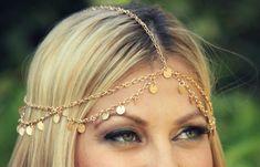 CHAIN HEAD PIECE gold disc chain headdress/headpiece by LovMely, $35.00  www.lovmely.etsy.com  www.facebook.com/lovmely