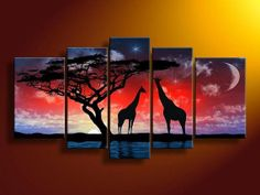 oil wall art African Starry night wall decoration Landscape. I could easily paint something like this