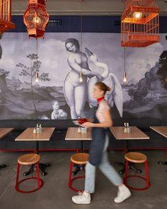 Swan Café, a new French crêperie in Cape Town, featuring a Leda and the Swan wallpaper by Leonardo da Vinci. Designed by Haldane Martin.