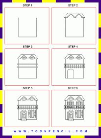 how to draw a house step by step - Google Search | art | Pinterest ...
