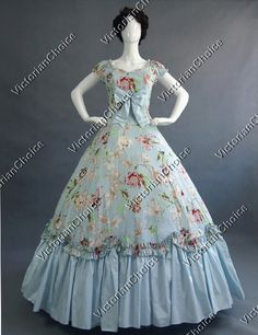 Southern Belle Civil War Ball Gown Formal Dress Reenactment Theatre Clothing  Floral Gown 17bf69a9610d