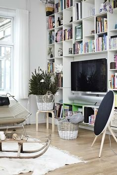 TV surrounded by books