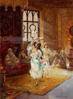 Harem interior with dancing women. Stephan Sedlacek (1868-1936) Oil on canvas. Sedlacek was a history and genre painter, depicting aristocratic people in courtly environments as well as oriental scenes. As in this work, Sedlacek painted rich and detailed interiors. Note how his light source illuminates only the dancers