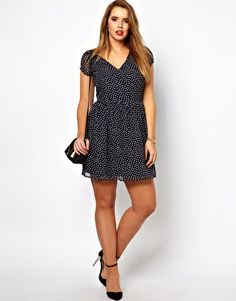 Image 4 of ASOS CURVE Exclusive Skater Dress In Spot Print