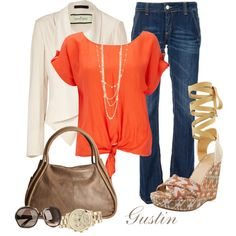 Love the orange top and white jacket