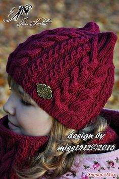 "Photo from album ""мои работы on Yandex. Knitted Hats Kids, Baby Hats Knitting, Kids Hats, Lace Knitting, Knitting Stitches, Crochet Baby Bonnet, Crochet Yarn, Knit Beanie Hat, Cute Hats"