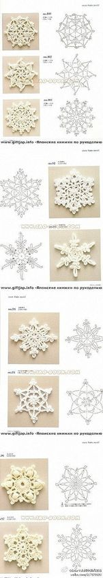 diy crochet snowflakes instructions in japanese but an experienced crocheter could suss out from charts here - PIPicStats Crochet Diagram, Filet Crochet, Crochet Motif, Irish Crochet, Crochet Doilies, Crochet Flowers, Crochet Stitches, Knit Crochet, Crochet Patterns