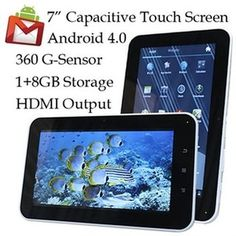 "AGPtek Android 4.0 Tablet, LCD 7"" 800 x 480 5 Point Capacitive TouchScreen, 1GB 8GB Storage, WiFi, G"