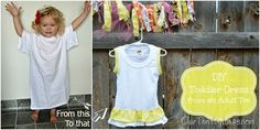 Use an adult plain tee and turn it into a DIY adorable toddler's ruffle dress.