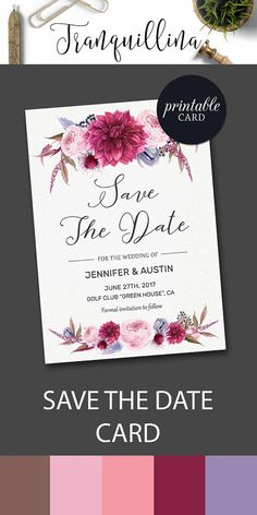Save the Date Printable Floral Save the Date Card Pink Save the Date Card Burgundy Save the date, Printable Save the Date Card Boho Wedding Trends DIY wedding. tranquillina.etsy.com