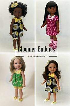 Bloomer Buddies sewing pattern for wellie wishers dolls.  Visit www.ohsewkat.com for a free skirt pattern too.  Easy to sew pdf patterns for doll clothes.  Makes top, dress, and bloomers.  #ohsewkat #welliewishers #americangirldolls #animators #princess #dollclothes