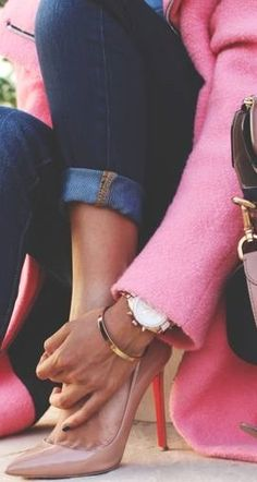 pink and denim and louboutins LOVE