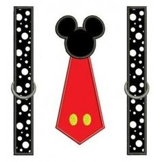 Looks like Mickey Mouse Tie with suspenders Applique Machine Embroidery…