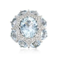 9.00 Carat Aquamarine and .33 ct. t.w. Diamond Ring in 14kt White Gold.