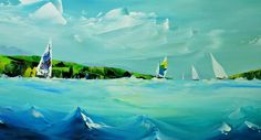 'Round the Islands' - Acrylic on Canvas, 16x32in