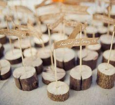 Wedding seat markers #wood #tree #stump