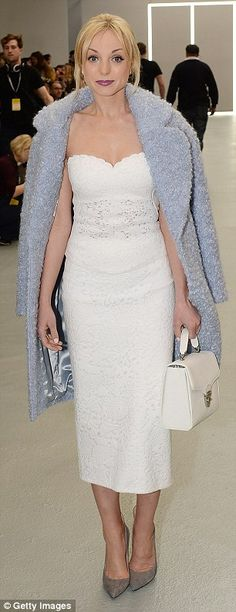 Stepping into spring: Strictly star Helen George and singer Ella Eyre sported pale-coloured midi-length outfits to Jasper Conran's London Fashion Week show on Saturday