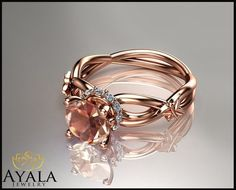 14K Rose Gold Light Pink Morganite Ring,Gemstone Engagement Ring,Butterfly Ring #AyalaJewelry #SolitairewithAccents