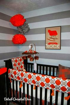 Stunning Brown, Orange & Grey Nursery designed by Natalie from Detail Oriented Diva! Stripes, polka dots, and some darling artwork! Check it out - featured on Design Dazzle