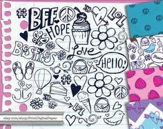 Notebook Doodles Digital clip art Instant by ClipartCarnival
