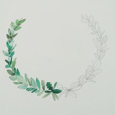 Illustrations watercolour wreath leaves www.thelovelybird.com.au
