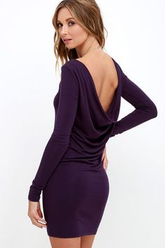 Make a quick and witty comeback with the Right Back Atcha' Purple Long Sleeve Dress! Jersey knit shapes a long sleeve dress with a draping open back and bodycon skirt. Cheap Trendy Clothes, Trendy Tops, Tube Skirt, Tube Dress, Low Back Dresses, Dresses With Sleeves, Sleeve Dresses, Junior Dresses, Club Dresses