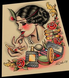 Makeup is Life Tattoo Flash Art – Parlor Tattoo Prints Desenho New School, Dessin Old School, Tatuagem New School, Flash Art Tattoos, Badass Tattoos, Love Tattoos, Tatoos, Watch Tattoos, Feminine Tattoos