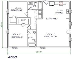 Barndominium floor plan 2 bedroom 2 bathroom 40x30