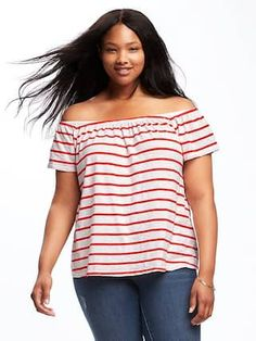 Plus-Size Off-the-Shoulder Swing Top