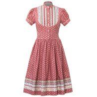 "Puff-sleeved dress with ribbon-trim bib detail by Lena Hoschek Tradition ""Gretl Dress Liebling"" Smoking, Short Sleeve Dresses, Dresses With Sleeves, Lederhosen, Gathered Skirt, Rock, Traditional Outfits, Dress Up, Skirts"