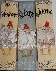 X Welcome Chicken Sign Folk Art Chicken Art - Das liebe Federvieh/the dear poultry X Welcome Chicken Sign Folk Art Chicken Art Welcome Chicken Sign Folk Art Chicken Art x by cackleblossums Chicken Signs, Chicken Art, Chicken Houses, Chicken Painting, Painting On Wood, Painted Signs, Wooden Signs, Rooster Art, Arts And Crafts