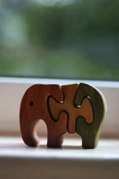 wooden elephant puzzle-for the window sill :D