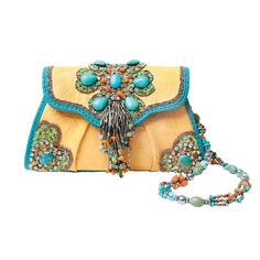 Taos Handbag by Mary Frances. The removable bejeweled strap can double as a necklace!