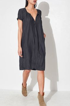 Black Smock Dress by Raquel Allegra | shopheist.com