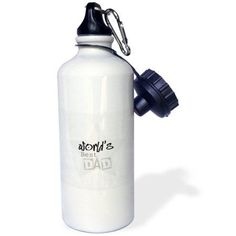 3dRose Worlds Best Dad in Gray Words Fathers Day, Sports Water Bottle, 21oz