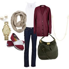 Burgundy look from October 2011 featuring See by Chloé cardigans, Calvin Klein Underwear tops and Levi's jeans. Browse and shop related looks.