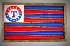Texas Rangers Baseball Bat Flag by ChicoLumberCompany on Etsy https://www.etsy.com/listing/212673637/texas-rangers-baseball-bat-flag