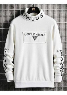 Mens long sleeve pull over of pattern letter print design, high neck. White Tshirt Outfit, Hoodie Outfit, Style Grunge, Soft Grunge, Tokyo Street Fashion, Sweatshirts Online, Mens Sweatshirts, Cool Shirts, Tee Shirts