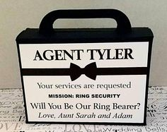 Ring Bearer Proposal Box and Ring Pop, Ring Bearer Invitation, Ring Security, Wi… Ring Pops, Groomsmen Proposal, Proposal Ring, Proposal Ideas, Bridal Party Invitations, Rustic Invitations, Bridesmaid Boxes, Bridesmaids, Ring Security