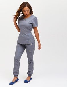 The Jogger Pant in Graphite is a contemporary addition to women's medical scrub outfits. Shop Jaanuu for scrubs, lab coats and other medical apparel. (Vet Tech Apparel)