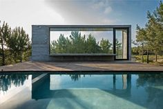 This modern concrete residence located in Pinamar, Argentina, was developed in 2015 by Luciano Kruk Arquitectos. Description by Luciano Kruk Arquitectos Costa Concrete Architecture, Interior Architecture, Interior Design, Beton Design, Concrete Houses, Concrete Pool, Exposed Concrete, Rooftop Pool, Swimming Pools