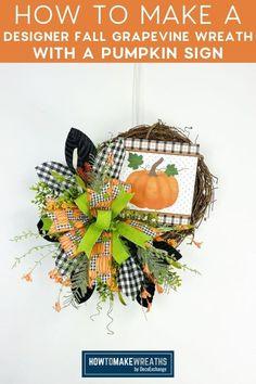 Front Door Decor, A Pumpkin, How To Make Wreaths, Grapevine Wreath, Grape Vines, Diy Crafts, Halloween, Fall, Design