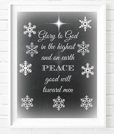 """Chalkboard Christmas decoration """"Glory to God in the highest and on earth peace good will towards men"""" Art Typography Poster Chalkboard Christmas Print Bible Quote Instant Download Digital Download Merry Christmas Décor Wall Art Gift Etsy"""